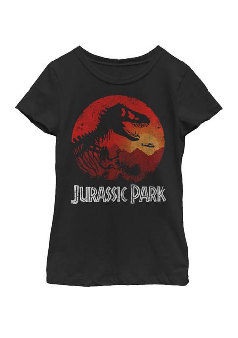 Jurassic Park Red Jungle Sunset Icon Short Sleeve