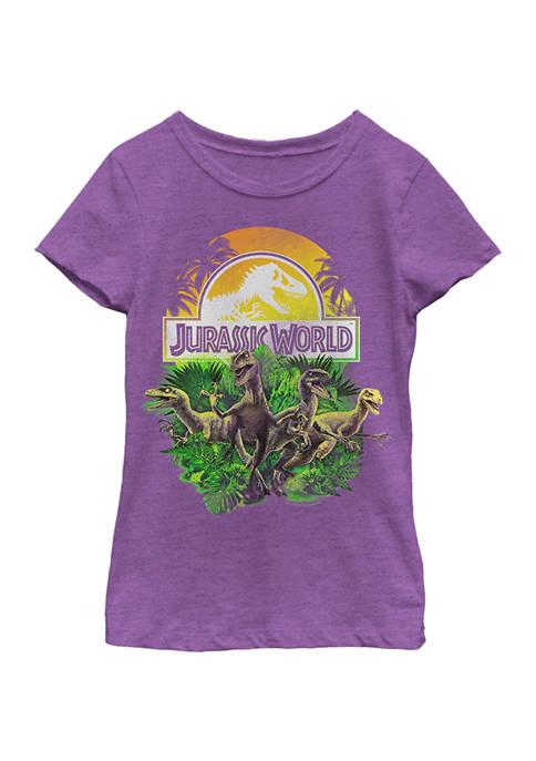 Jurassic World Girls 4-6x Distressed Plastic Jungle Graphic