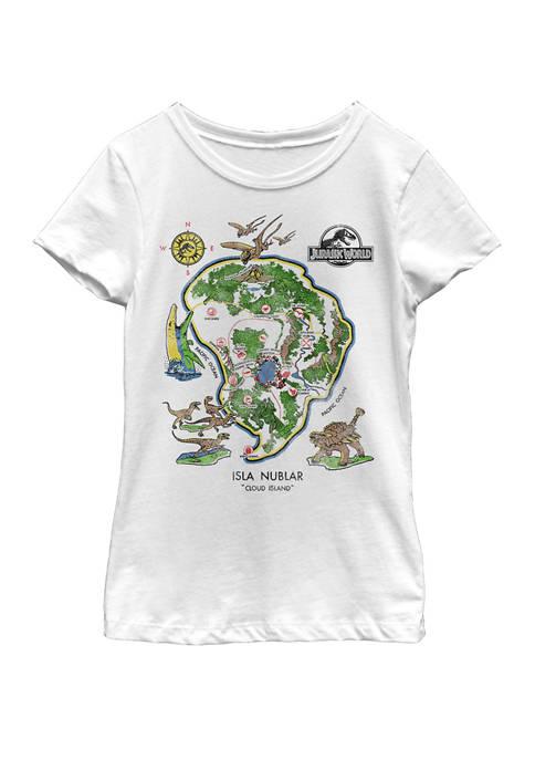 Jurassic World Girls Isla Nublar Map Short Sleeve