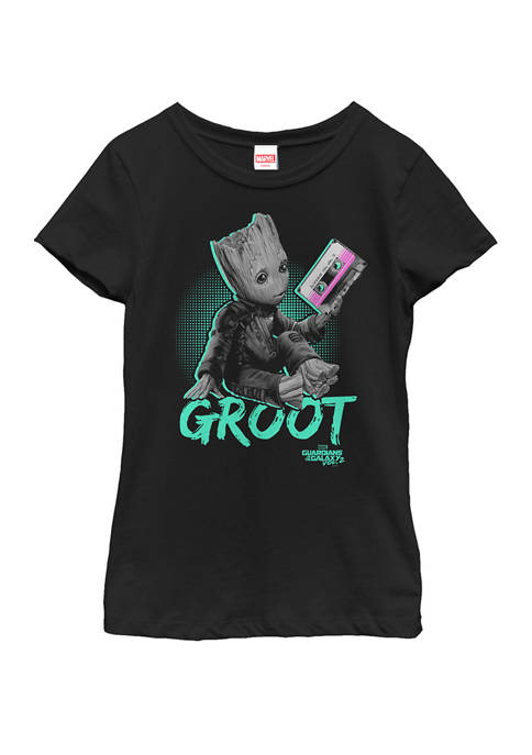 Girls 7-16 Guardians Vol. 2 Baby Groot Neon Tape Short Sleeve Graphic T-Shirt