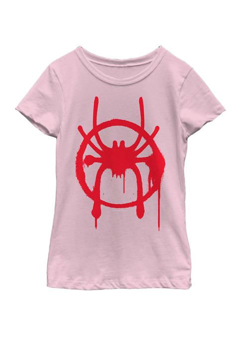 Marvel™ Girls Spiderverse Miles Symbol Tag Short Sleeve