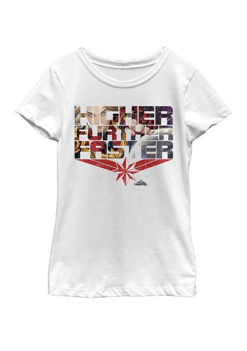 Marvel™ Girls Captain Marvel Higher Faster Further Word
