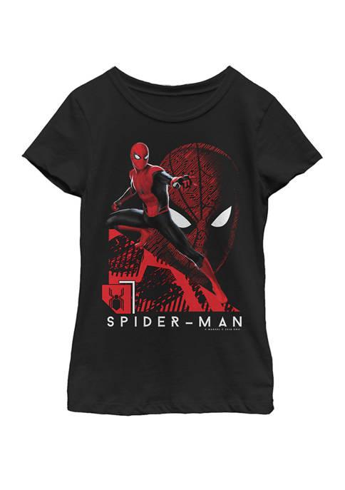 Girls Spider-Man Far From Home Portrait Tech Background Short Sleeve Graphic T-Shirt