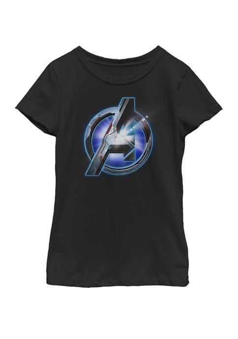 Girls Avengers Endgame Avenger Tech Logo Shine Short Sleeve Graphic T-Shirt