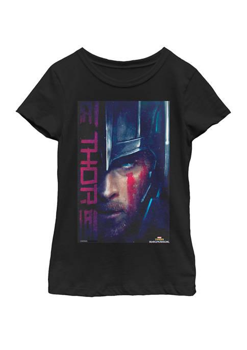 Girls 7-16 Thor Ragnarok Might God of Thunder Profile Short Sleeve T-Shirt