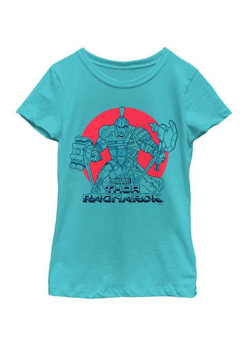 Girls 7-16 Thor Ragnarok Hulk Battle Stance Dot Burst Short Sleeve T-Shirt