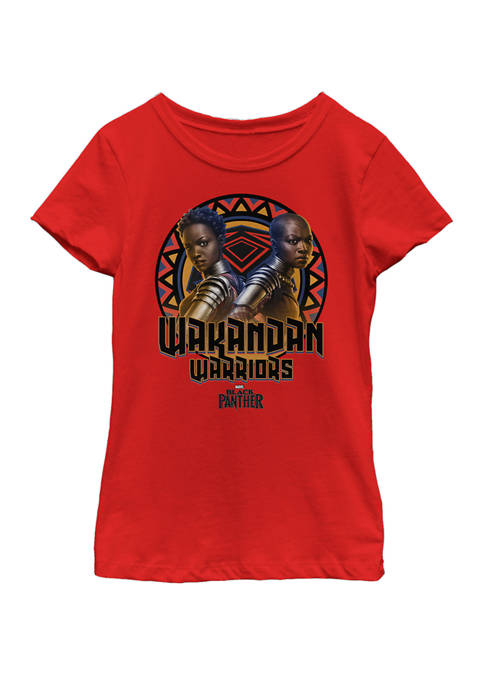 Girls Black Panther Movie Warrior Circle Short Sleeve Graphic T-Shirt