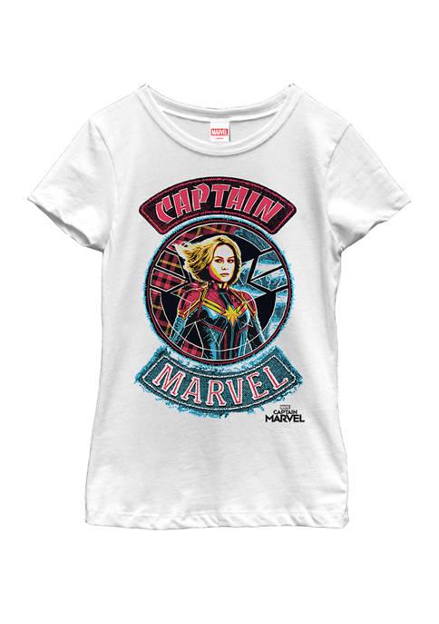 Marvel™ Girls Captain Marvel Stitched Patched Portrait Short