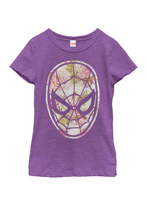 Marvel™ Girls Spider-Man Floral Print Short Sleeve Graphic