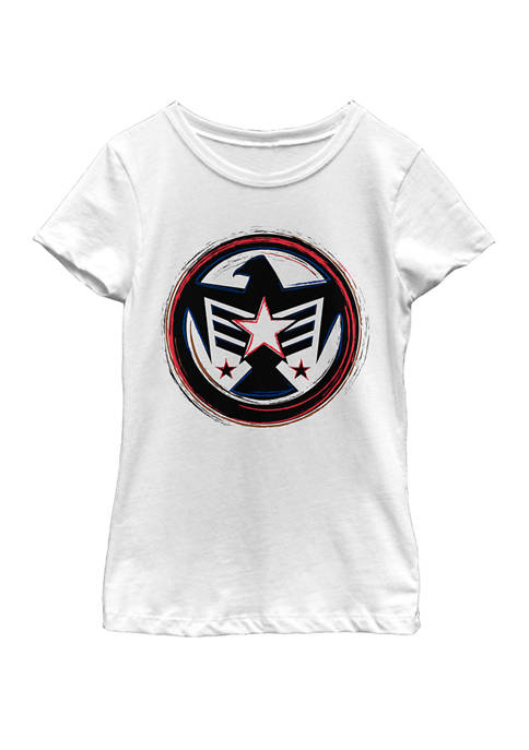 Marvel™ Girls Falcon America Badge Symbol Short Sleeve