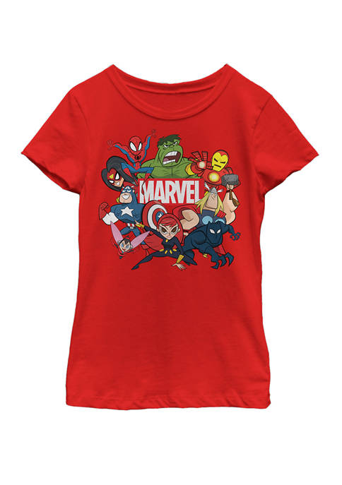 Marvel™ Girls 7-16 Avengers Cartoon Action Collage Group