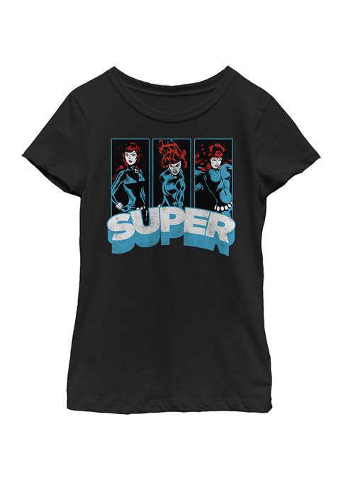 Girls 7-16 Black Widow Super Vintage Comic Poses Short Sleeve Graphic T-Shirt