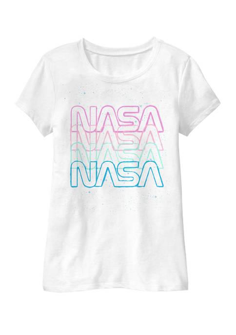 NASA Girls 7-16 Repeating Rainbow Logo Stars Retro