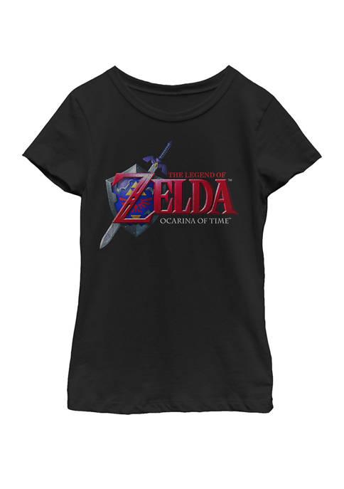 Girls 7-16 Zelda Ocarina of Time Classic Logo Short Sleeve Graphic T-Shirt