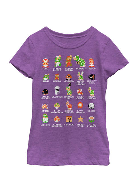 Nintendo Girls 7-16 Super Mario 8-Bit Pixel Icons