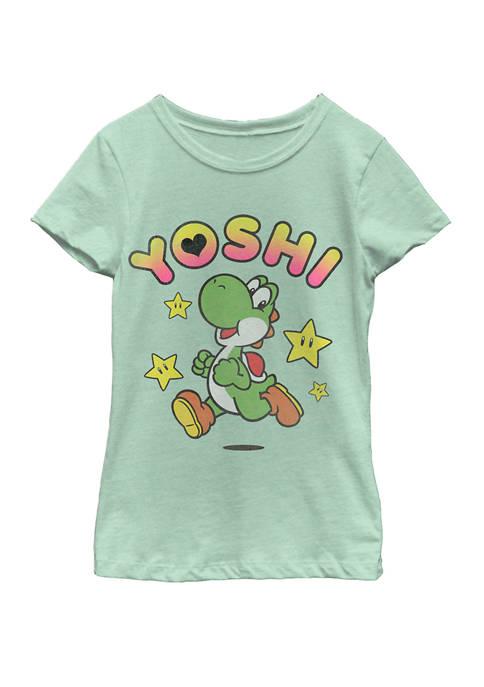 Girls 7-16 Super Mario Yoshi Star Power Sprint Short Sleeve T-Shirt