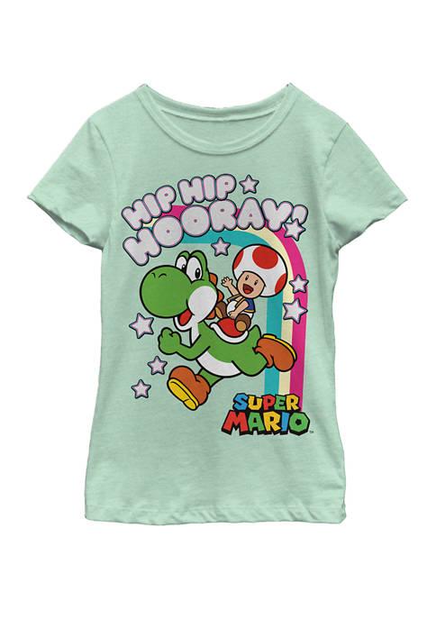 Girls 7-16 Super Mario Yoshi And Toad Hip Hip Hooray Rainbow Short Sleeve Graphic T-Shirt