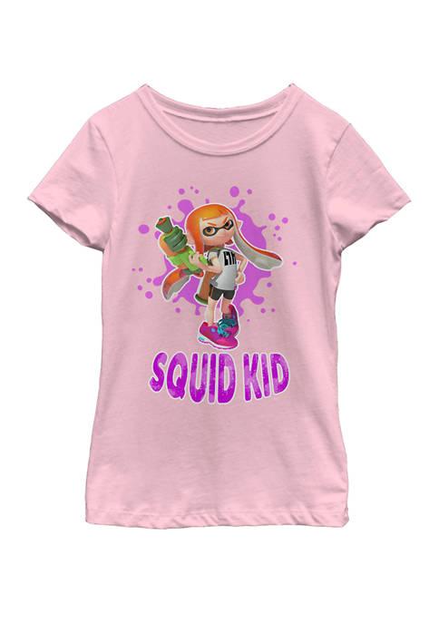 Girls 7-16 Splatoon Squid Kid Pink Splat Short Sleeve Graphic T-Shirt