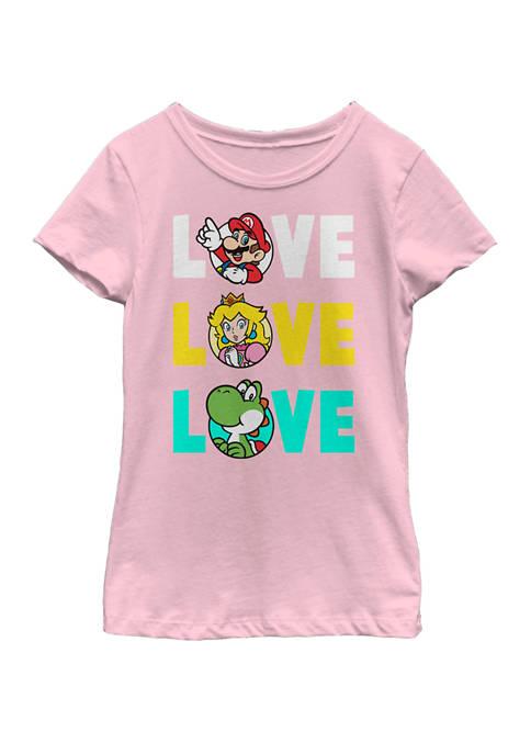 Nintendo Girls 7-16 Super Mario Love Colorful Text