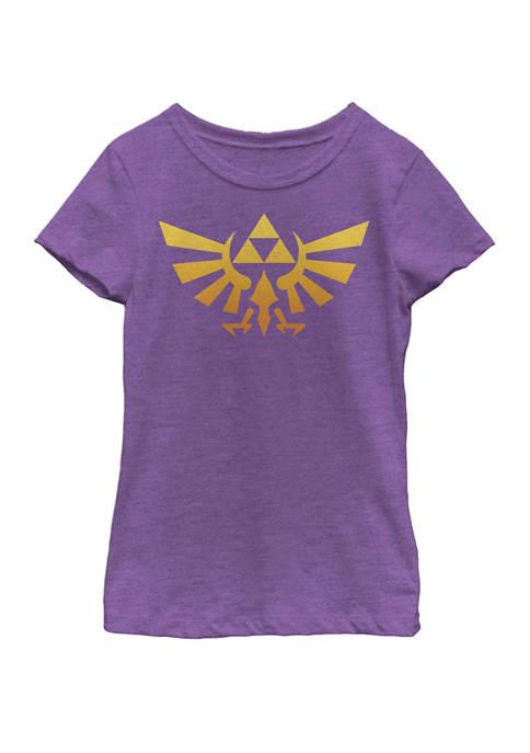Girls 7-16 Legend Of Zelda Royal Crest Orange Hue Badge Short Sleeve Graphic T-Shirt