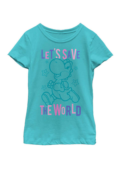 Girls 7-16 Super Mario Yoshi Lets Save The World Outline Portrait Short Sleeve Graphic T-Shirt