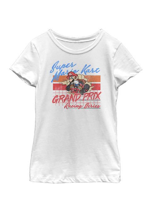 Girls 7-16 Mario Kart Racing Retro Drift Distressed Short Sleeve Graphic T-Shirt