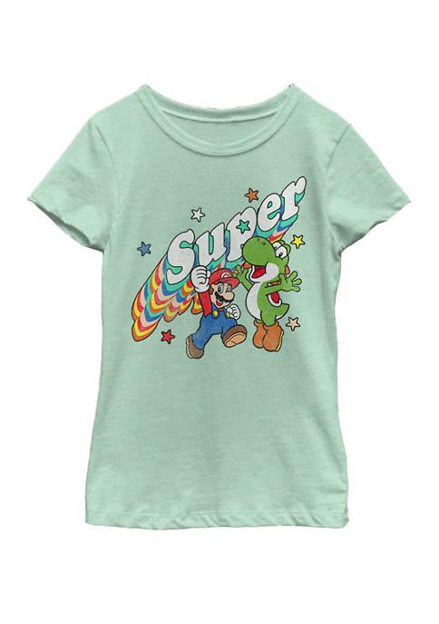 Girls 7-16 Super Mario Yoshi Mario Rainbow 3D Star Short Sleeve Graphic T-Shirt