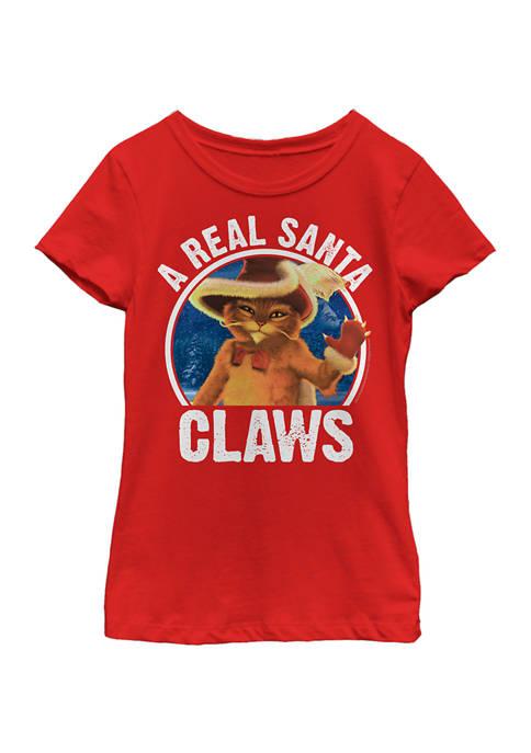 Shrek Girls 4-6x Real Santa Claws T-Shirt