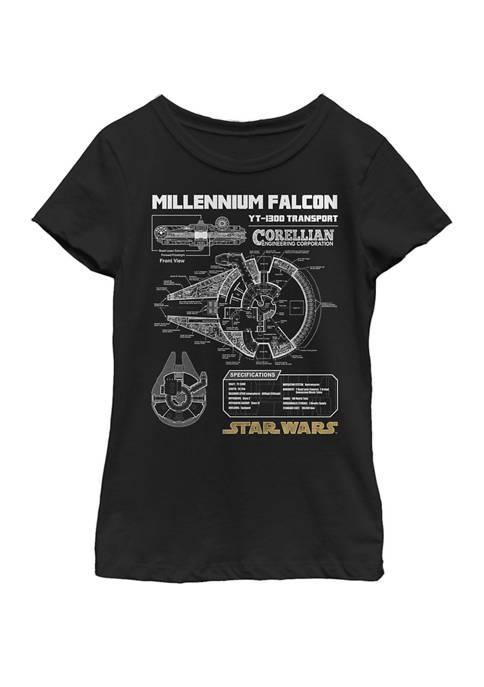 Star Wars® Girls 7-16 Gold Millennium Falcon Schematics