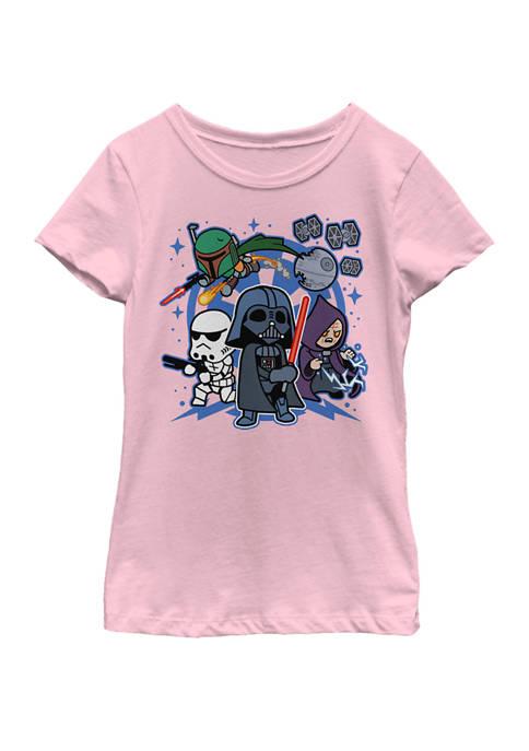 Girls 7-16 Vader Kawaii Chibi Team Empire Short Sleeve Graphic T-Shirt
