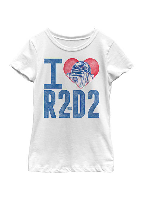 Girls 7-16 I Heart R2-D2 Color Crayon Short Sleeve Graphic T-Shirt