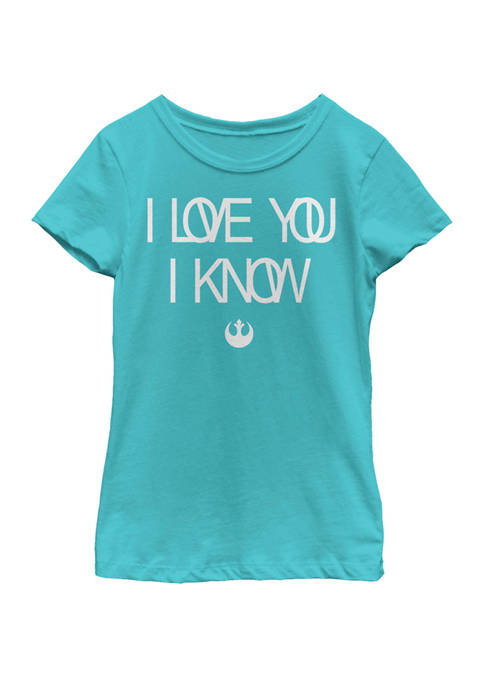 Girls 7-16 Love You I Know Rebel Symbol Short Sleeve Graphic T-Shirt