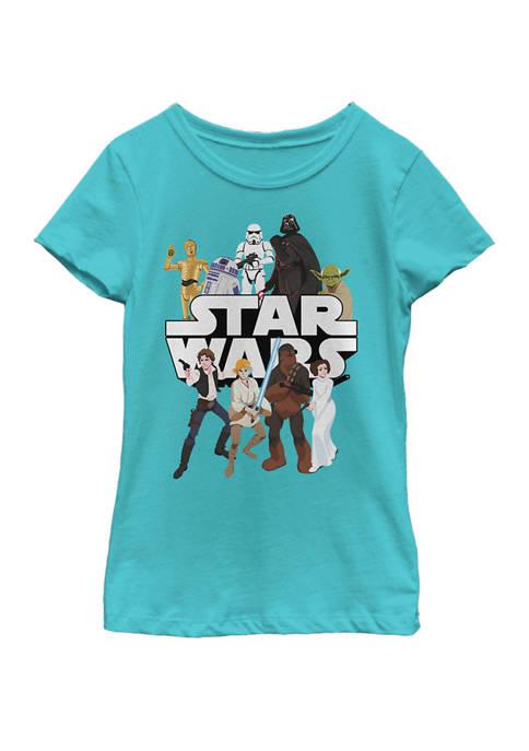 Girls 7-16 Galaxy Of Adventures Logo Group Shot G1P Short Sleeve Graphic T-Shirt