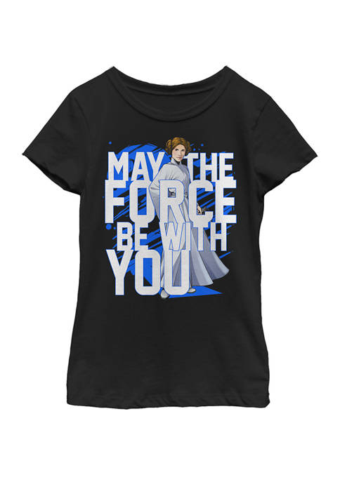 Girls 7-16 Force Be With You Princess Leia Short Sleeve T-Shirt