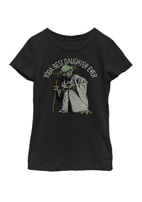 Girls 7-16 Yoda Best Daughter Ever Portrait Short Sleeve T-Shirt