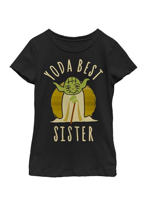Girls 7-16 Yoda Best Sister Cartoon Yoda Short Sleeve T-Shirt