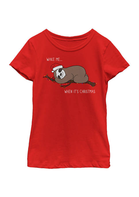 Fifth Sun™ Girls 4-6x Sloth Christmas T-Shirt
