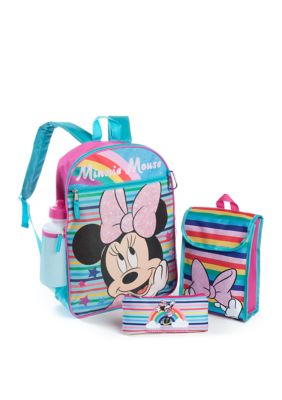 Disney Girls 5 Piece Minnie Mouse Backpack Set