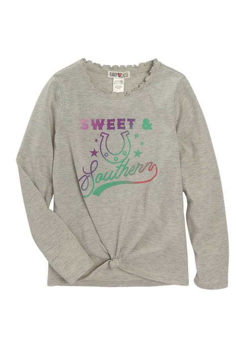 Girls 7-16 Long Sleeve Knot Front Graphic T-Shirt