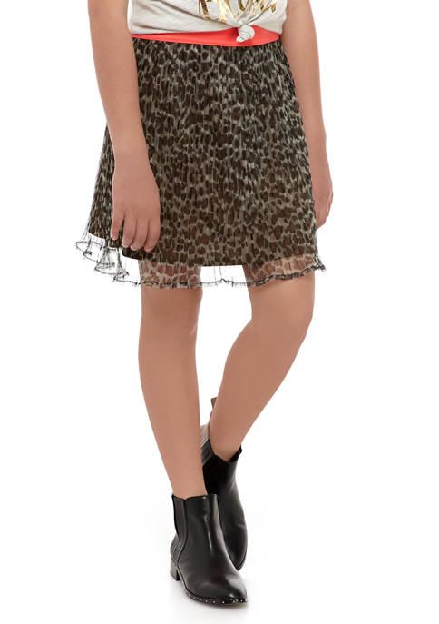 Girls 7-16 Cheetah Mesh Skirt with Pink Waistband
