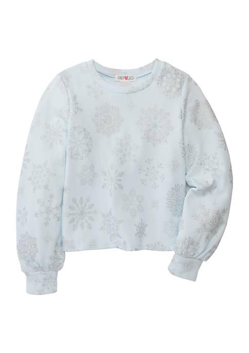 Kandy Kiss Girls 7-16 Bishop Sleeve Snowflake Print