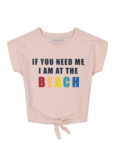 Toddler Girls Pink Beach Graphic Top