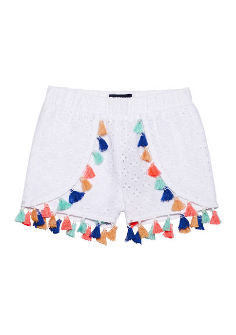 Andy & Evan Toddler Girls Tasseled Eyelet Shorts