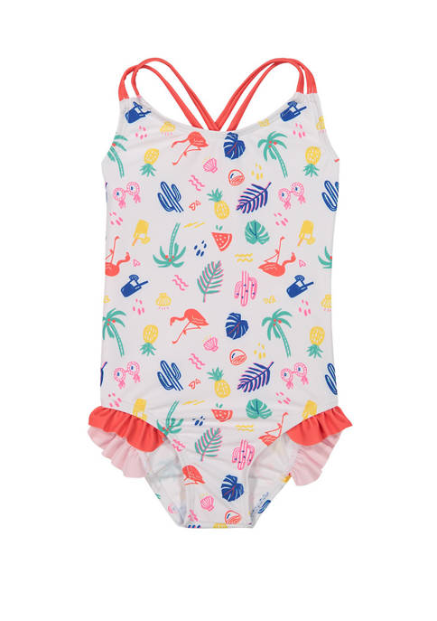 Andy & Evan Toddler Girls Crisscross Back Swimsuit
