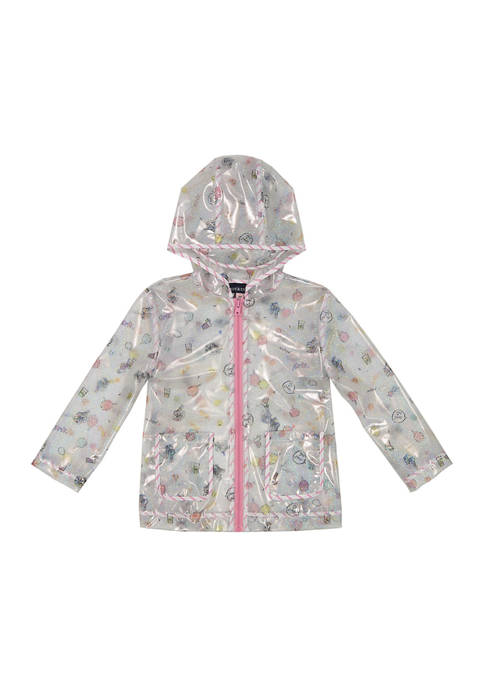 Toddler Girls Glitter Dashed Rain Jacket