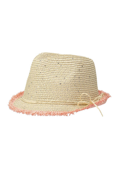Girls Pom Pom Straw Hat