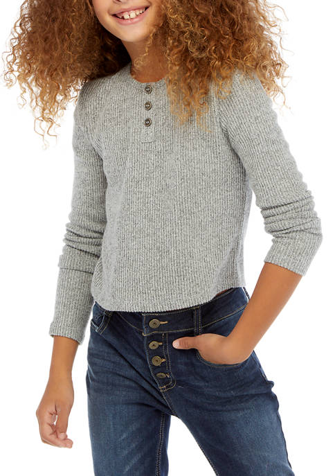 TRUE CRAFT Girls 7-16 Long Sleeve Ribbed Henley