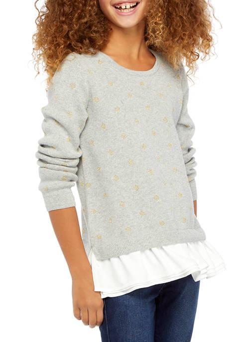 Crown & Ivy™ Girls 7-16 2Fer Sweater
