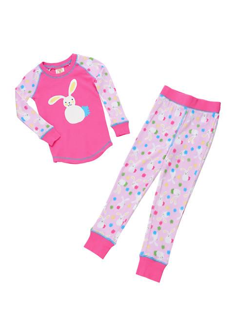 Girls 4-6x Floppy Ear Bunny Print Pajama Set