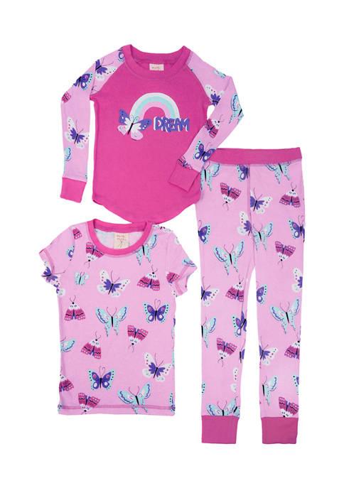 Girls 4-16 Butterflies 3 Piece Pajama Set